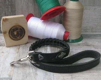 Sales, Braided Leather Dog Leash, Black Dog Leash, 2 Ft Dog Leash, Strong Dog Leash, Walking Dog Leash, Handmade Leash, Luxury Dog Lead