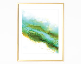 Green Wall Art, Printable Art Prints, Abstract Art, Abstract Wall Prints, Alcohol Ink Print,Digital Art,Green Printable Art, Abstract Prints