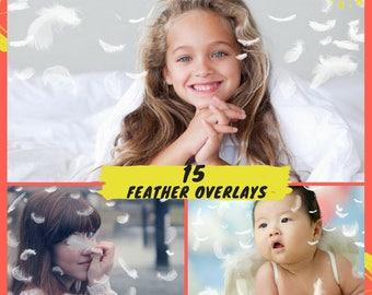 15 Feather Photo Overlays, Photoshop Overlays, Falling Feathers Overlays, Baby Photography overlays, Wings Angel Newborn Digital Backdrop