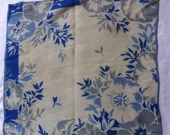 30s 40s vintage silk crepe lady's hankie. Soft grey and blue floral design. IMPERFECT.