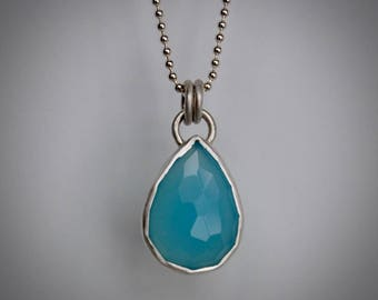 Turquoise Blue Chalcedony and Sterling Silver Pendant Necklace