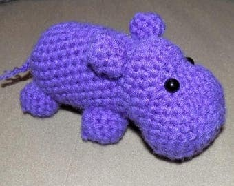 Crochet Hippo, Amigurumi Hippo, Crochet Toy,  Stuffed Animal, Nursery Decor, Purple Hippo Toy, Baby Shower Gift, Hippopotamus, Hippo Gift