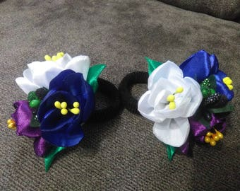 Hair Scrunchies, Girl's Scrunchies, Handmade Kanzashi hair tie, Ribbon flowers, Hair Accessories