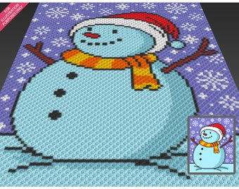 Mr. Snowman crochet blanket pattern; c2c, cross stitch; graph; pdf download; no written counts or row-by-row instructions