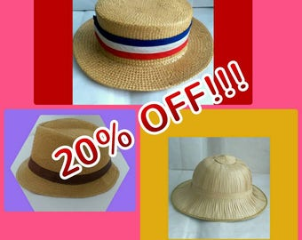 A Selection of Vintage Straw Hats - 3 Styles