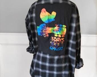 Woodstck Flannel Tee Woodstck tye dye and black t shirt in new black brushed cotton plaid flannel shirt woodstock tshirt large