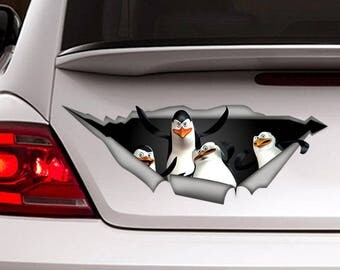 Penguins madagascar  car decal, 3d sticker, funny sticker, vinyl decal