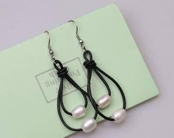 White Pearls Dangle Earring,Handmade Beaded Drop Earrings,Women White Freshwater Pearls Pendant Earring Jewelry,2 Strands Steel Earrings