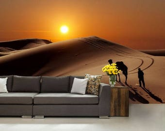 desert wallpaper, desert wall mural, desert wall decal, Sahara wallpaper, Sahara wall decal, Sahara wall mural, camel wallpaper, camel