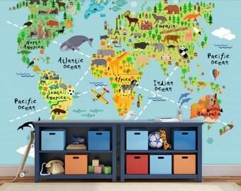 world map wall mural, children world map, kids world map, map decal, world map wall mural, education world map, kids world map decal