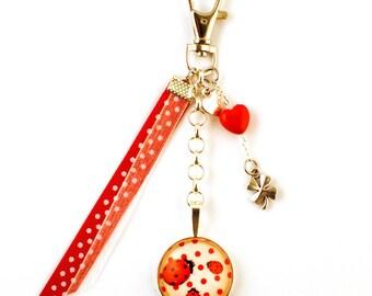 Bag - cabochon - lucky Ladybug charm