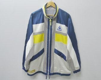 Lecoq Sportif Sweater Lecoq Sportif Jacket Vintage 90s Lecoq Sportif Colorblock Track Top Activewear Size L