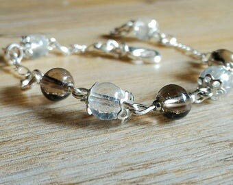 Beautiful silver bracelet 925 smoky quartz and rock crystal, stone of release
