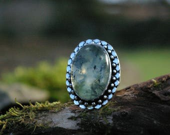 Prehnite ring, size 57 or 8 US