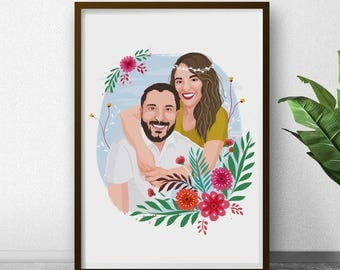Personalized Gift, Couple Portrait, Gift for Couples, Couple Print, Custom Drawing, Gift for Boyfriend, Couples Gift, Printable illustration