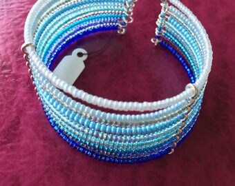 Memory Wire Beaded Cuff