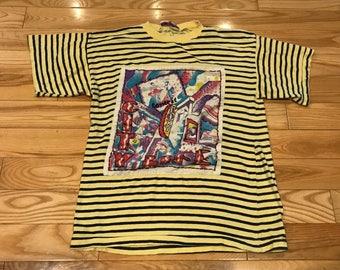 Vintage A'Milano City Life T-shirt Yellow striped large Amazing artwork 90's unisex
