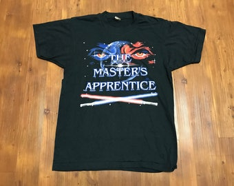 "Vintage 1980's RARE Star Wars promo shirt ""The masters Apprentice"" Jedi t shirt Screen stars tag Single stitched medium Movie tee Unisex"