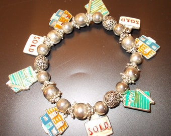 Charm Bracelet with 9 Real Estate Charms