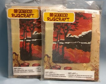 Vintage Latch Hook Rug Canvas by Patons Rugcraft, Landscape Pattern, 2 Available