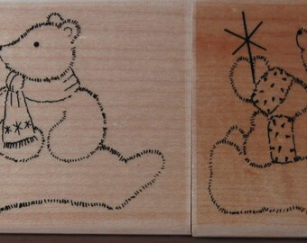 TWO POLAR BEAR Rubber Stamps