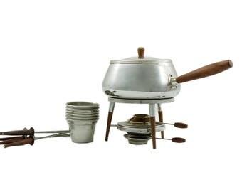 Mid Century Modern Atomic Fondue Set, 16 Piece, Stainless Steel Fondue Set, Retro Fondue Pot, Fondue Fork, Fondue Party, Mid Century Kitchen