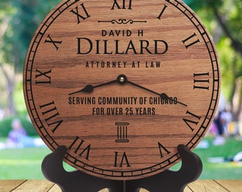Gifts For Lawyers Office - Gifts for Attorneys and Judges - Gifts for Attorneys - Personalized and Unique Laser Engraved Clock - Lawyer Gift