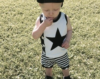 Cuff Shorts- Monochrome Stars and Stripes- (Sizes 0-3 months- 5-6)