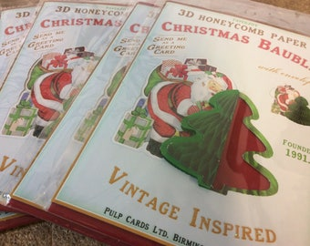 Vintage Inspired ornament Christmas card - Pack of 5 - Pop up Christmas cards