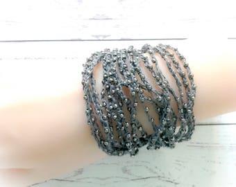 Multi strand bracelets,charcoal grey,Hand beaded crochet bracelets,fiber bracelets,african ethnic bracelets,gypsy jewelry,beaded bracelets,