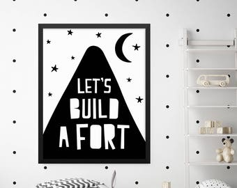 Scandinavian Print, Let's Build A Fort Print, Nursery Prints, Boys Room Decor, Girls Room Decor, Kids Wall Art, Childrens Wall Art