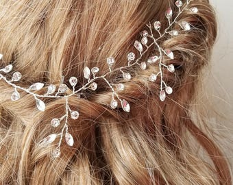 Bridal silver hair band - Hina