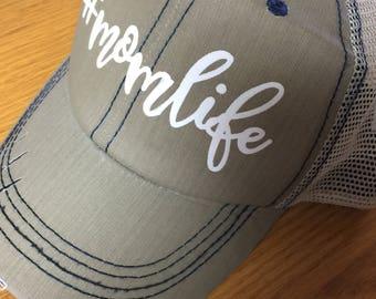 Mom Life Distressed Trucker Hat in Tan w/Blue Stitching-New 2017