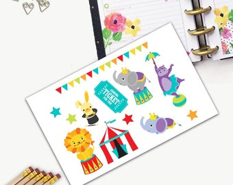 Circus Animals Stickers, All Happy Planner Stickers, Add On Set, Stickers, Printed, Cut, Functional Sticker, Any Planner, Circus, Birthday