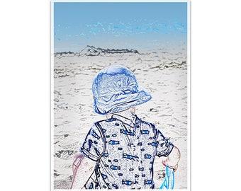 Photo poster kids decor illustration facing the sea A4