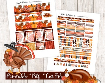 Thanksgiving Harvest Printable Planner Stickers/For Use with Erin Condren/Monthly Kit/Fall November Glam Turkey Feast Corn Stuffing Glitter
