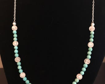 Turquoise beaded necklace with pink rose accent
