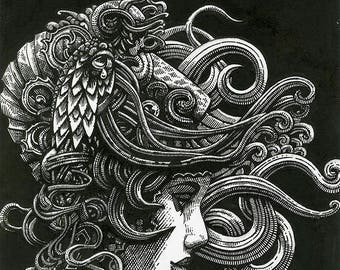 Nautilus by HerbRobert- a signed giclee print on archival art paper of a pen and ink  drawing