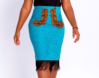 Ella Blue Fringe Midi Skirt
