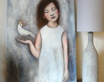 """Petite fille avec oiseau couronné , peinture """"S'il faut que tu t'envoles"""" 50x70 cm, robe blanche rêve, songe"""