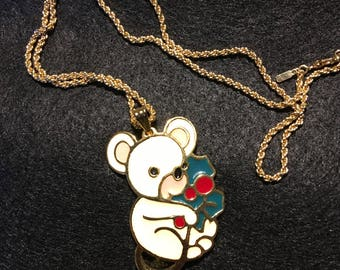 Vintage  Wallace Silversmith Christmas Mouse with Holly Leave. Monet Gold Necklace