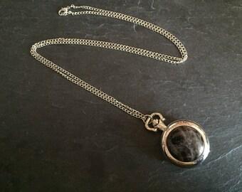 Necklace with smoky Quartz pocket watch.