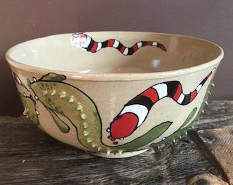 Green Fish and Wigglers Bowl, ceramic wheel thrown bowl, hand painted design, stoneware bowl.