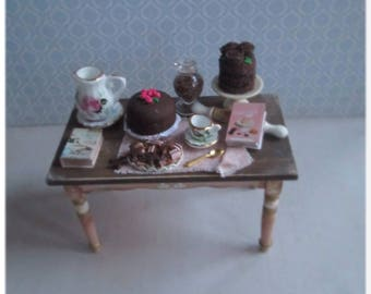 1:12 kitchen table with chocolate desserts, miniature furniture, handicrafts