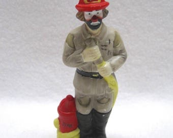"Emmett Kelly JR - Porcelain Clown Figurine ""Fireman"" by Flambro"