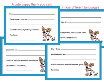 Puppy Party Thank You Card - Printable Instant Download - Four languages, Italian, English, French. German, Danke, Grazie, Merci, Thank You