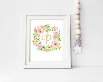 Personalised New Baby Initial Print, Birth Print, Nursery Print,Floral Wreath Nursery Decor, Unique Baby Gift,Nursery Wall Art, Baby Girl