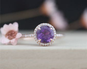 Solid in 14k Rose Gold Ring 7mm Round Cut Amethyst Diamond Ring Engagement Ring Wedding Ring Gift Handmade Promise Ring Anniversary Ring