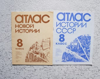 Set Soviet vintage atlas 1986 Historical map Made in USSR Historical book Professor gift for dad Supplies maps Unique book Soviet school