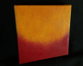 "Ambient Painting ""Aarwaal"" - 6""x6"" - acrylic on canvas - red and orange - abstract - small painting"